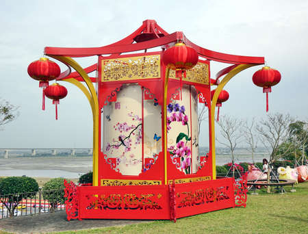 KAOHSIUNG, TAIWAN -- JANUARY 25, 2020: To celebrate the Chinese Year the Fo Guang Shan Buddhist complex is decorated with a large lantern featuring traditional art. Editorial