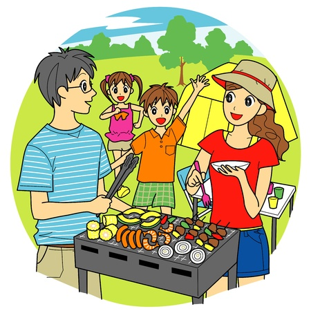 barbecue family Vector