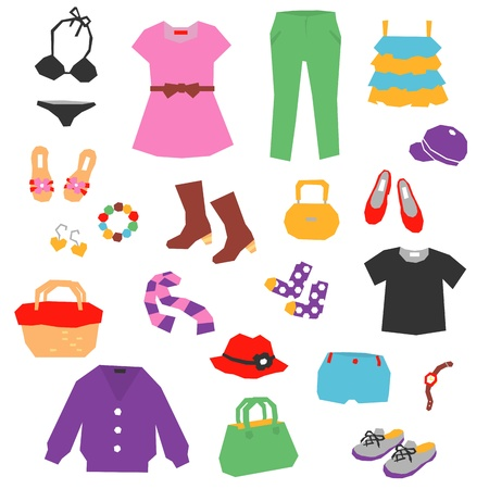 women s clothes: women s clothing, items, accessories Illustration