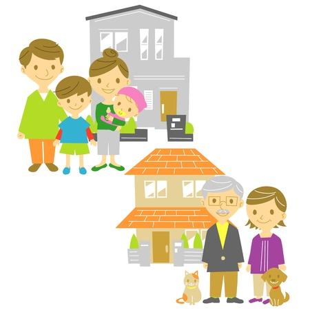 grand kids: family, houses Illustration