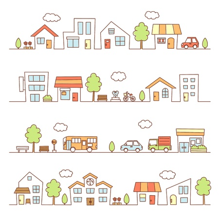 stores and houses on a street Vector