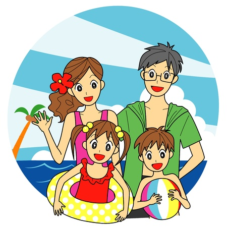 family at the sea Vector