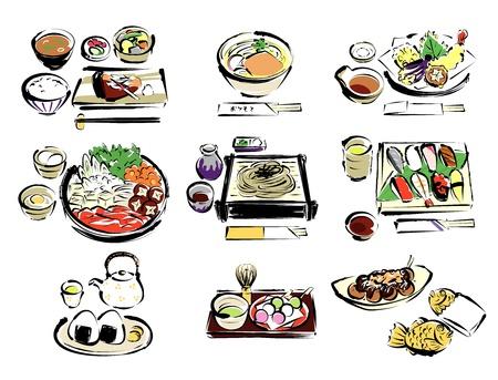日本の食べ物  イラスト・ベクター素材