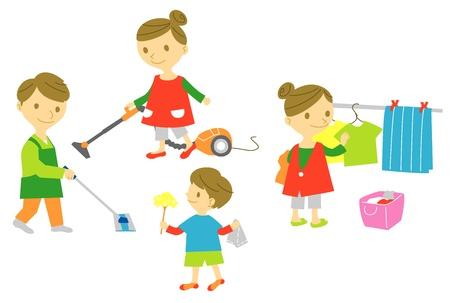 familie, huiswerk, huishouden, schoonmaken, wassen