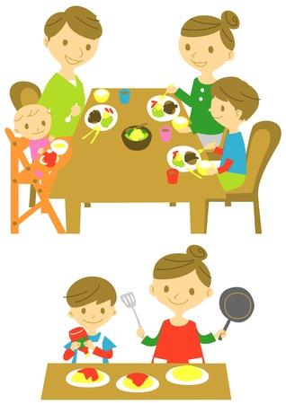 家族、ディナー、料理  イラスト・ベクター素材