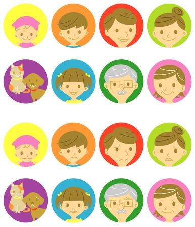famille malheureuse: la famille, les visages heureux et les visages tristes Illustration
