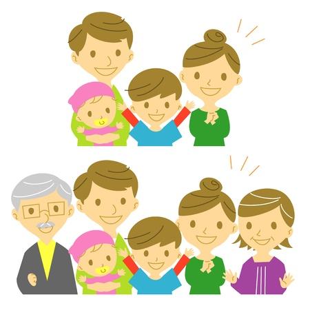 가족, 즐거운, 미소 일러스트