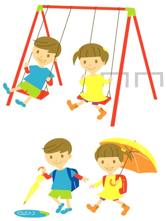 playing kids Vector