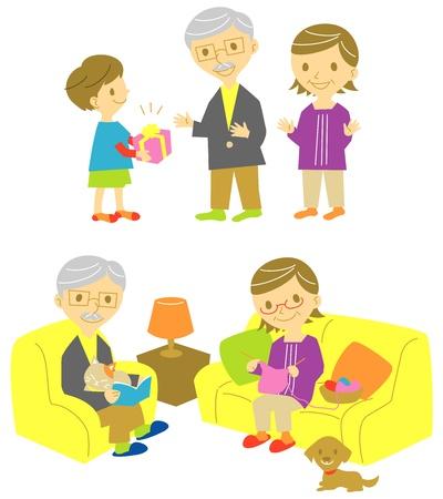 vieil homme assis: grands-parents et petit-fils, cadeau pour ses grandaparents Illustration