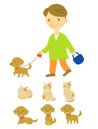 dog walk: dog walker, dog and cat