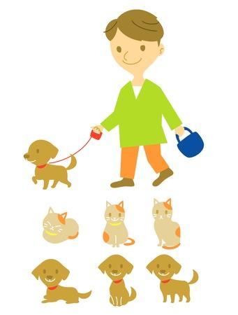 dog walker: dog walker, dog and cat