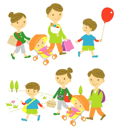 parker: familj, shopping och picknick Illustration