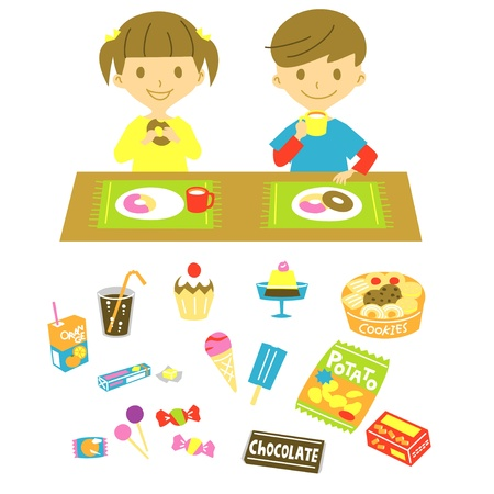 kids, have a snack Vector