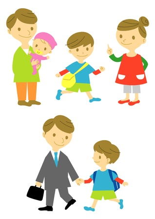 family, father and son Illustration