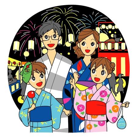 familia asiatica: familia, kimono de verano, festival de verano Vectores