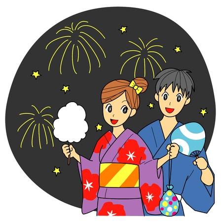 일본의 여름 축제, 불꽃 놀이, 여름 옷 (기모노) 일러스트