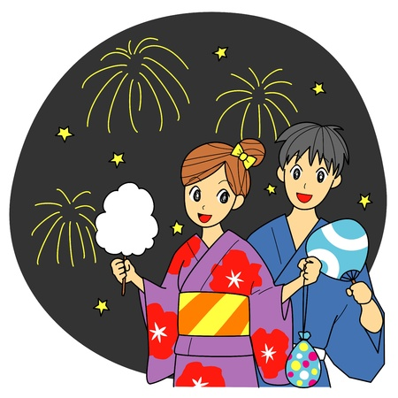 spun sugar: Japanese summer festival, fireworks, kimono for summer