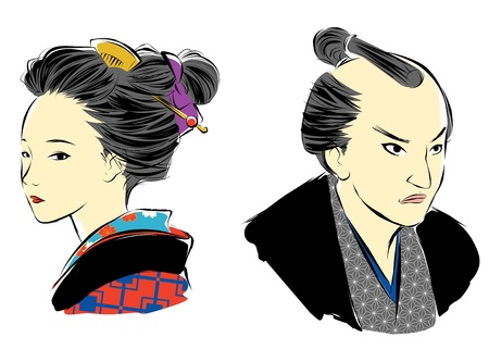 period: Japanese man and woman, in Edo period