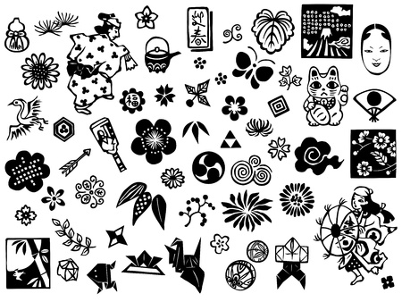 Japanese symbols,  marks, design, patterns Vector