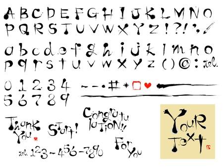 書道フォント, アルファベット, ブラシ ストローク