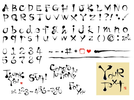 calligraphy fonts, alphabets, brush stroke