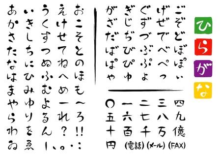 Japanese characters ; HIRAGANA