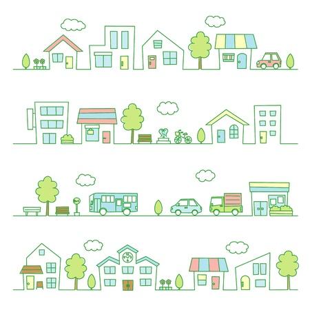 les magasins et les maisons sur une couleur rue / vert