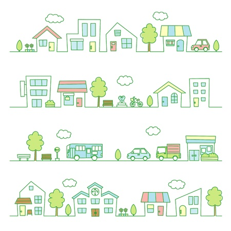 stores and houses on a street  green color Illustration