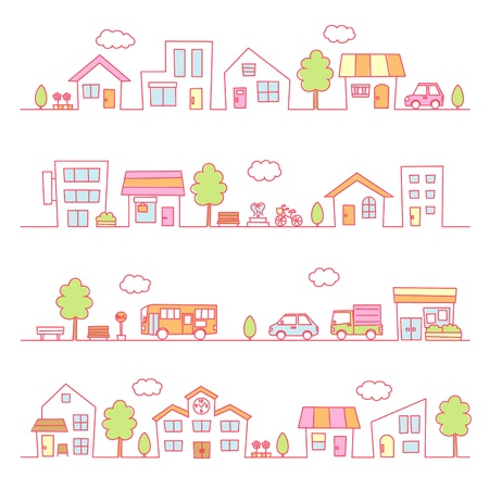 stores and houses on a street  pink color Illustration