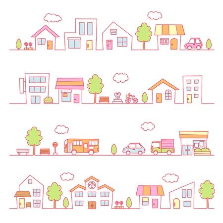 stores and houses on a street  pink color Illusztráció