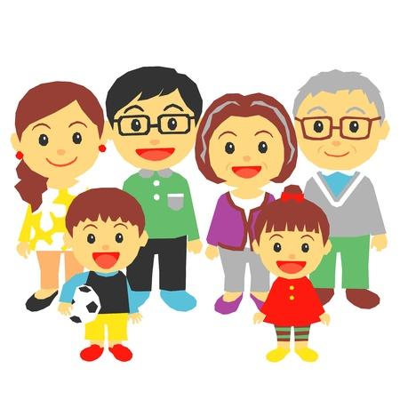 3 세대 가족 일러스트