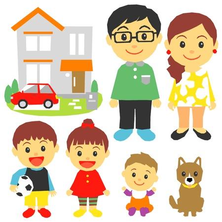 perro familia: Familia, hijos, casa, coche Vectores
