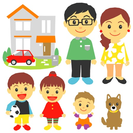 Family, children, house, car  Vector