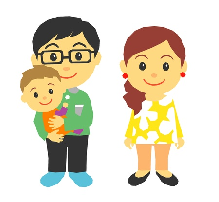 two parent family: parents and baby Illustration