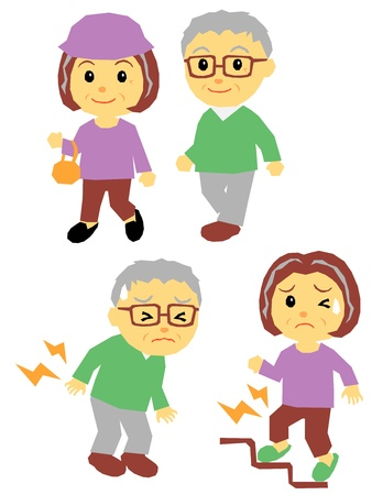 old couple, walking, pain Vector