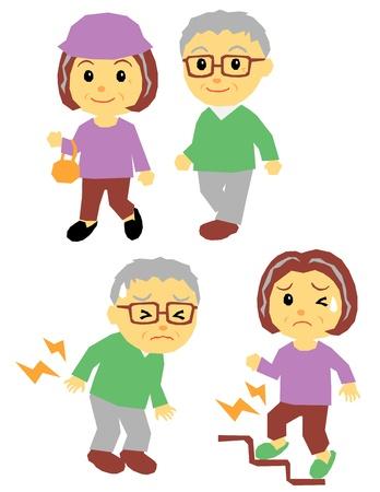 vejez: pareja de ancianos, para caminar, dolor Vectores