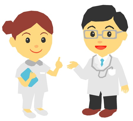explaining: medical doctor, nurse, explaining Illustration