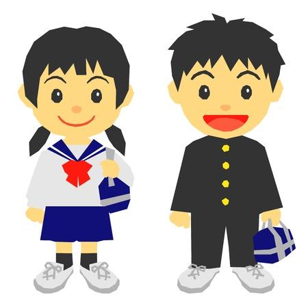 estudantes, uniforme escolar Ilustra��o