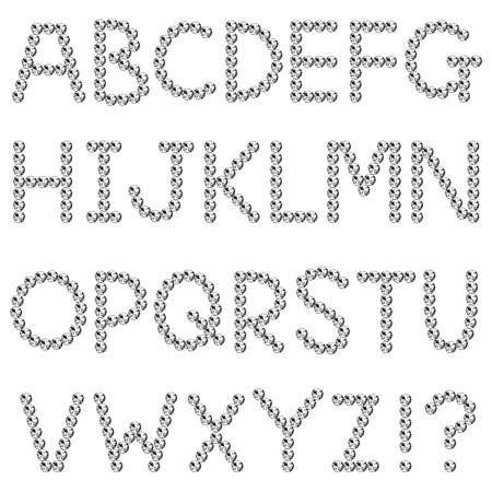 Rhinestones, fonts, capital letter Illustration