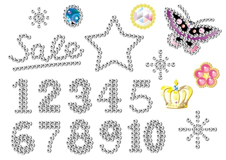 3 4: rhinestone numbers, decorations and ornaments