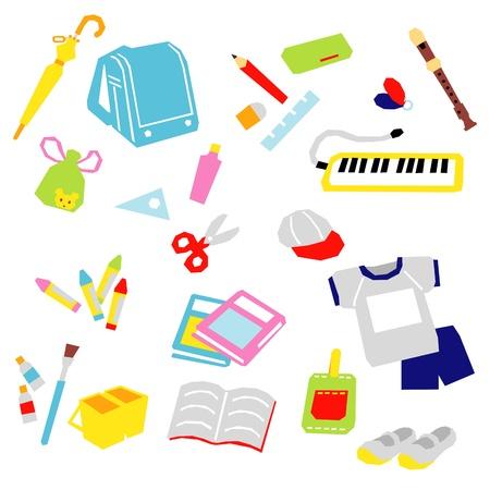 triangle objects: School supplies, in Japan, set