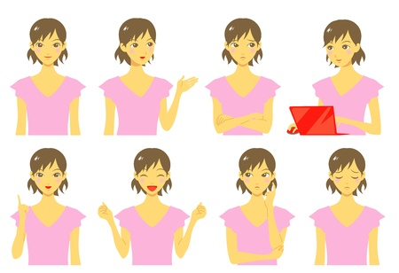 girl, expressions, set Stock Vector - 19843042