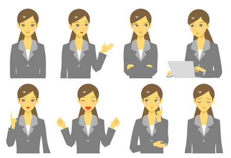 girl in suit, expressions, set Illustration