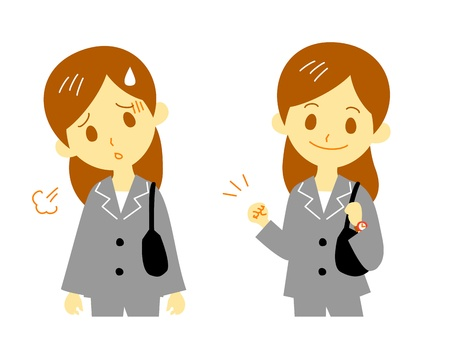 cheer up: woman in suit, working, tired, cheer up Illustration