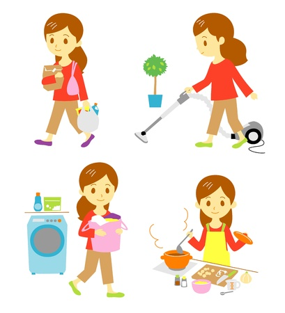 shopping, cleaning, washing, cooking  Illustration