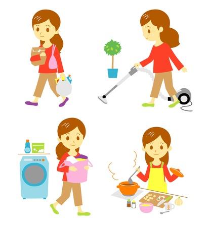 chores: winkelen, schoonmaken, wassen, koken