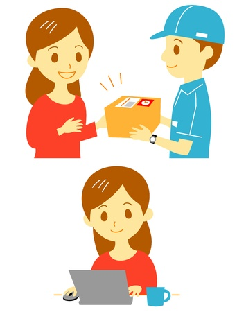 net book: order and delivery  Illustration