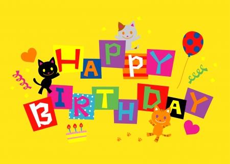 お誕生日おめでとう、誕生日カード デザイン  イラスト・ベクター素材