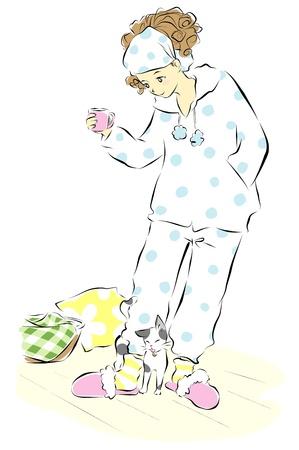 pajamas: woman in pajamas with a cat Illustration
