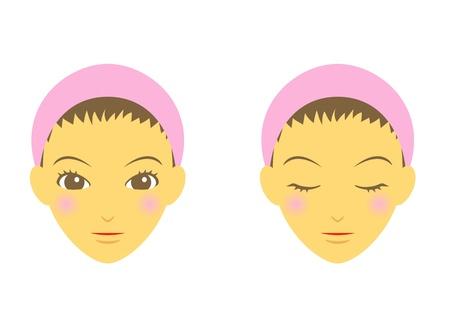 wash face: woman face, no make up Illustration